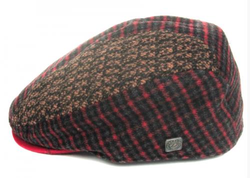 Dasmarca Felix tweed flat cap in Wine - side