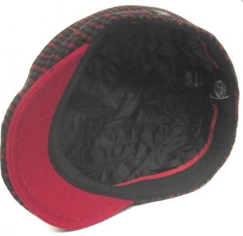 Dasmarca Felix tweed flat cap in Wine - inside